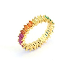 High Quality Cubic Zirconia Rainbow Ring Brass Gold Plated Ring