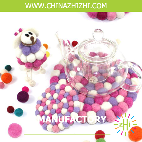 pink color cotton wool felt balls type pads