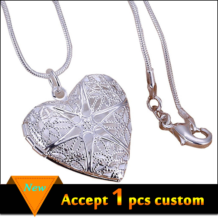 Wholesale alibaba silver heart shaped photo frame pendant for necklace