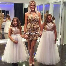 ZH2505Q Sparkly Rose Gold Sequined Flower <strong>Girl</strong> <strong>Dresses</strong> for Wedding Long Tulle Jewel Neck Bow 2019 kid Formal Birthday Party Gown