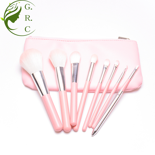 Cherry pink 8pcs facial makeup brush of china supplier maquillage with cosmetic bag