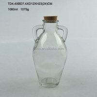 1000ML glass oil jug with handle and cork lid