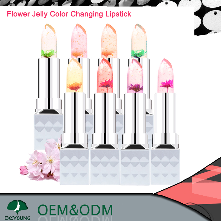 Magic change color jelly flower lipstick make your own lipstick