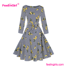 Wholesale Floral Printing Striped Autumn Dress For Woman Clothing Bangkok Dress