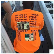 Wholesale the life of Pablo orange t shirt for mens/womens hip hop tee oversize photo printed clothes
