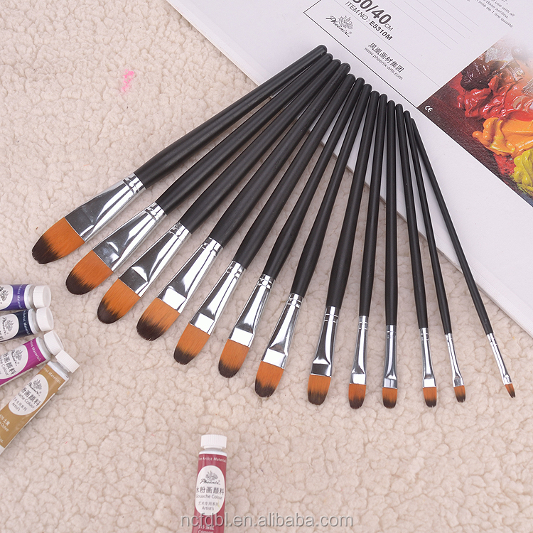 Newest Kids Promotional Wholesale Cheap Brush Drawing, Art Paint Brushes round firblert and flat paint art artist brush set