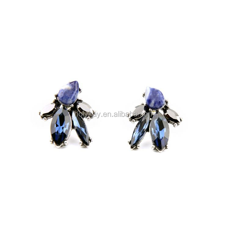 acrylic blue diamond stud material for making different shape stone earring