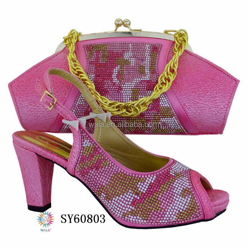 SY60803 Italy popular ladies stone pink color shoes and matching bag for party