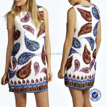 Guangzhou clothing factory paisley print woven beautiful simple ladies fashion dresses with picture