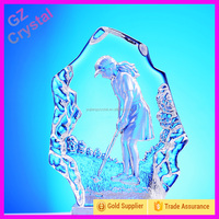 3D Engraved Model Playing Golf Crystal Block Iceberg