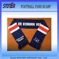 OEM Promotional Custom printed sports scarf football team scarf polyester fan scarf