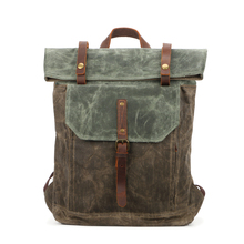 waxed canvas bag school laptop anti theft backpack men bag