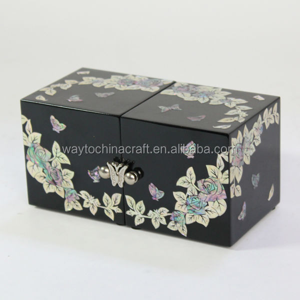 High quality wooden fashion jewelry box with mother of pearl inlay