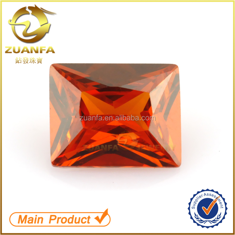orange rectangle shape cubic zirconia cz gemstone prices large stones for jewelry