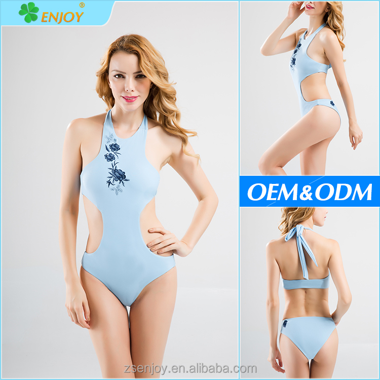 China swimwear factory fashion show sexy lady traditional embroidery flower brazilian pretty thong one piece swimsuit