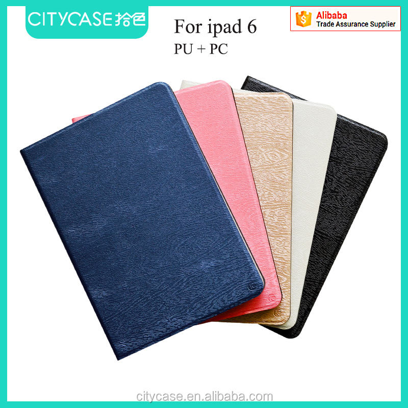 city&case wood grain fabric leather case for ipad 6
