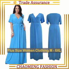 6009# 6XL 7XL Women Summer V-Neck Vintage Elegant Everning Dress Blue Maxi Long Dresses Big Plus Size Clothing