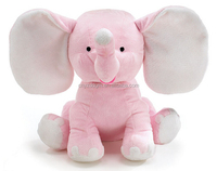 Cute Plush Colorful Elephant Soft Stuffed Wild Animal Toy With Big Ears,Pink Bear
