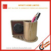 Unisex leather checkbook covers with clock pen holder