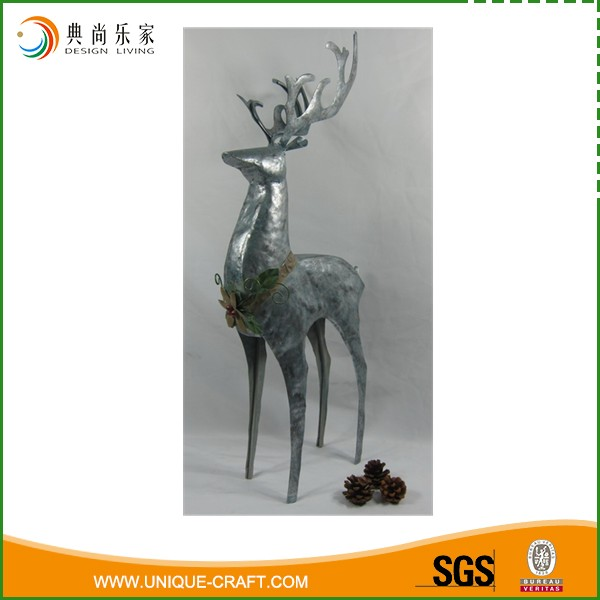High Silver Metal Christmas Standing Reindeer