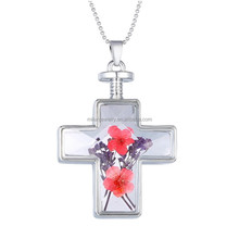 Cross shape locket real natural flowers pendant necklace plastic shot glass necklace
