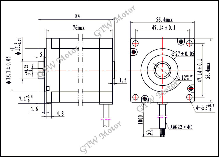 23hs6405-k12 nema 23 hollow stepper motor