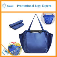 Wholesale Customized cart bag supermarket foldable polyester trolley shopping bag