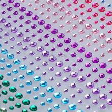 3mm Self Adhesive Rhinestones Diamante Jewel Gem Mixed Colour Clear Sticker
