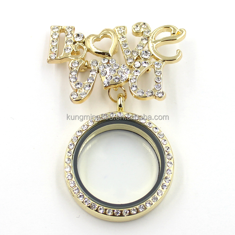 2016 latest cute girl glass crystal 'I love you' charms Locket pendants