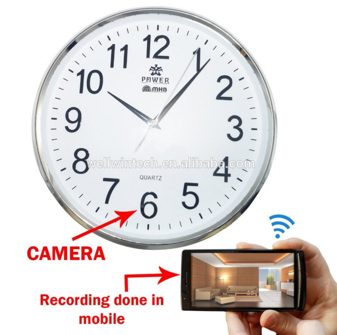Factory WiFi Wall Clock Hidden Camera directly seen on your mobile with recording in mobile with high-definition video by WIFI