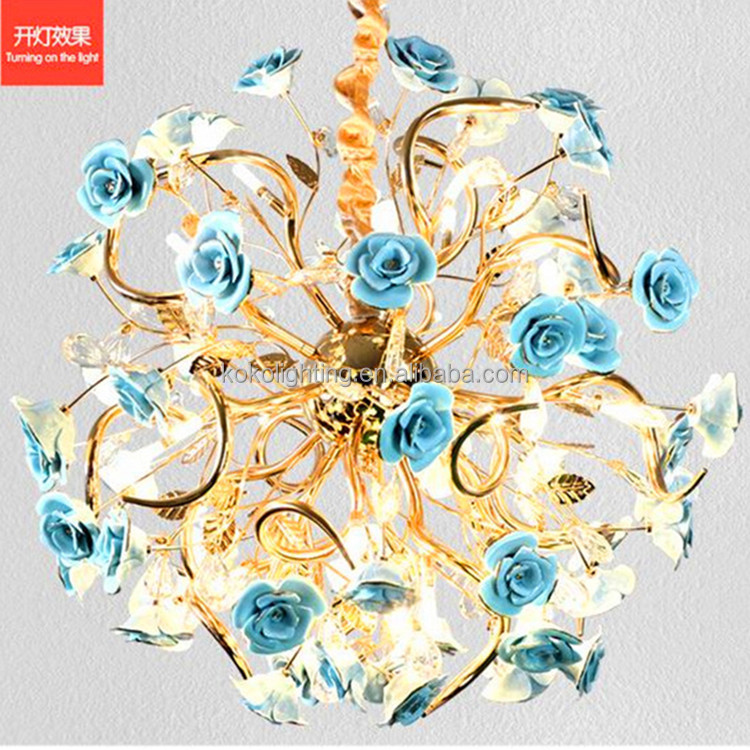 Ceramic blue roses Handicraft pendant light modern circle pendant light