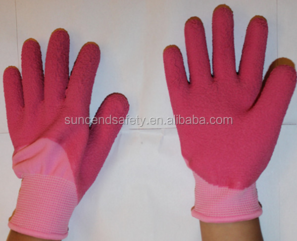 kids colorful coated work safty latex foam gloves for hand protective