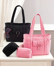 2 Pc. Quilted Tote Cosmetic Bag Set Handbag Purse For Women