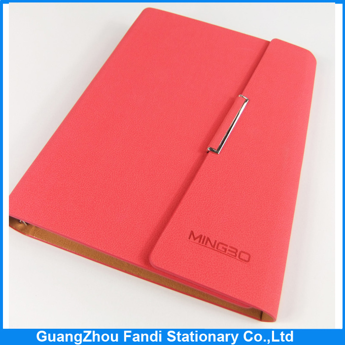 2017 loose-leaf notebook pu leather diary covers with magnetic closure