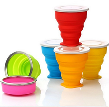 Wholesale silicone folding cup,collapsible water bottle,plastic cup with lid