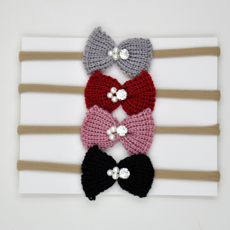 Nylon Headband Matching Yarn Bow Newborn <strong>Hair</strong> <strong>Accessory</strong>