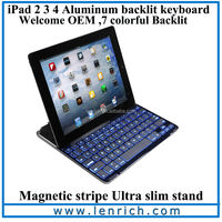 LBK141 Ultrathin Backlit Keyboard for ipad 2 3 4 Wireless Bluetooth 3.0 Keyboard Aluminum alloy Cover with stand