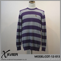 High quality Stripe pattern cotton sweater round neck clothing man fashion korean