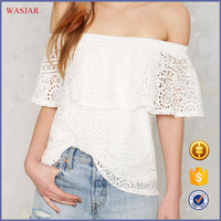 2016 European summer new fashion the latest fancy design woman sexy white lace off-shuolder crop tops