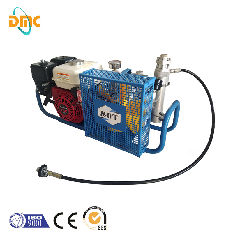 Highly pressure compressor air pump, 5.5hp petrol engine piston recepricated type belt driven