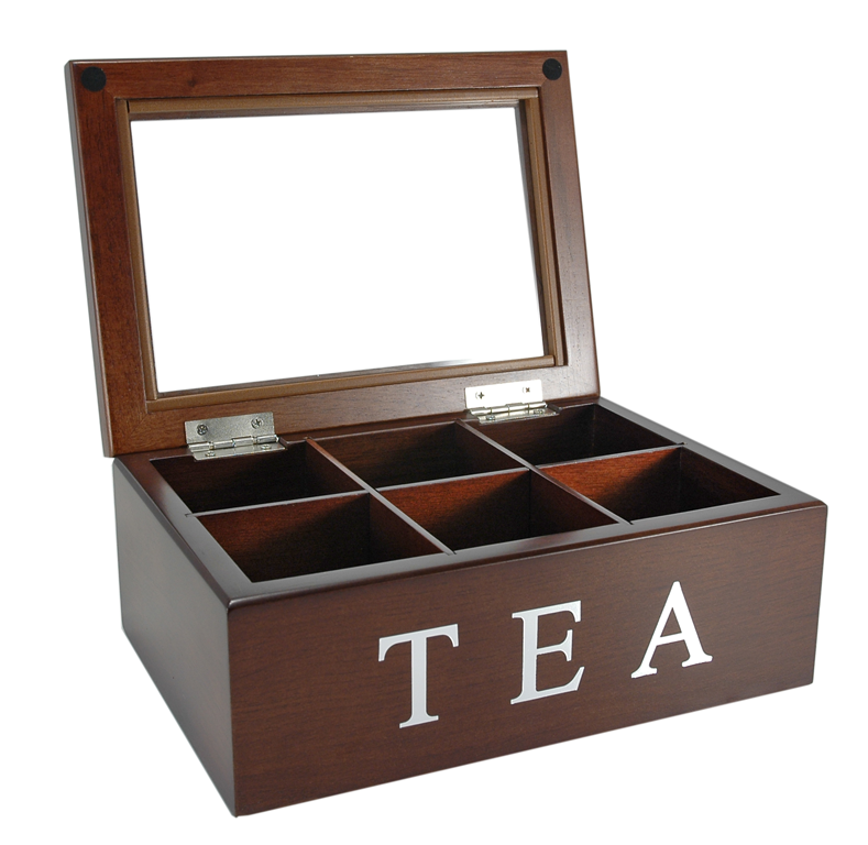Wooden Tea Box Storage Box with Glass Lid
