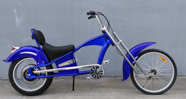 Blue suspension frame li-ion battery 48V 500W chopper e bike