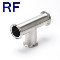 RF Sanitary SS pipe Fitting Tri-clamp Equal Tee