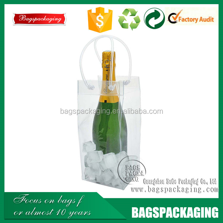 high quality clear plastic transparent wine pvc handled bag