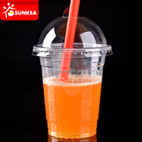Disposable custom printed clear plastic cup with lid and straw