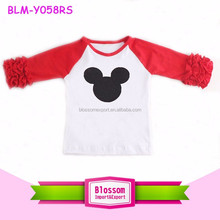 Fashion design 180 gram fabric raglan cotton kids t-shirt 3/4 ruffle sleeves print Mickey pattern girl raglan t-shirts wholesale