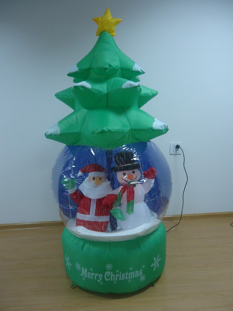 Nice inflatable handmade snow globe snowman with santa claus christmas decorations