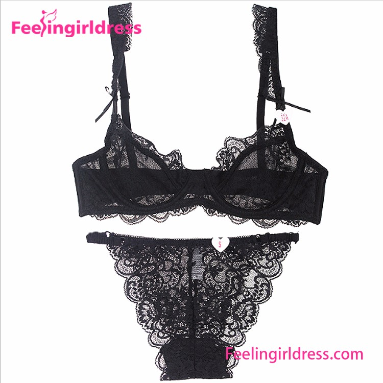 Charming Black Underwire Floral Embroidery Bra and Panty Set Underwear