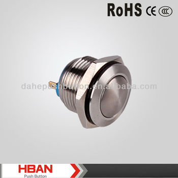 CE ROHS 16mm waterproof metal push button switch