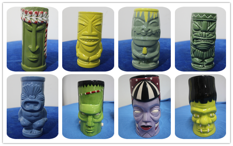 Classic happy blue Wholesale Custom Ceramic Wholesale Tiki Mugs
